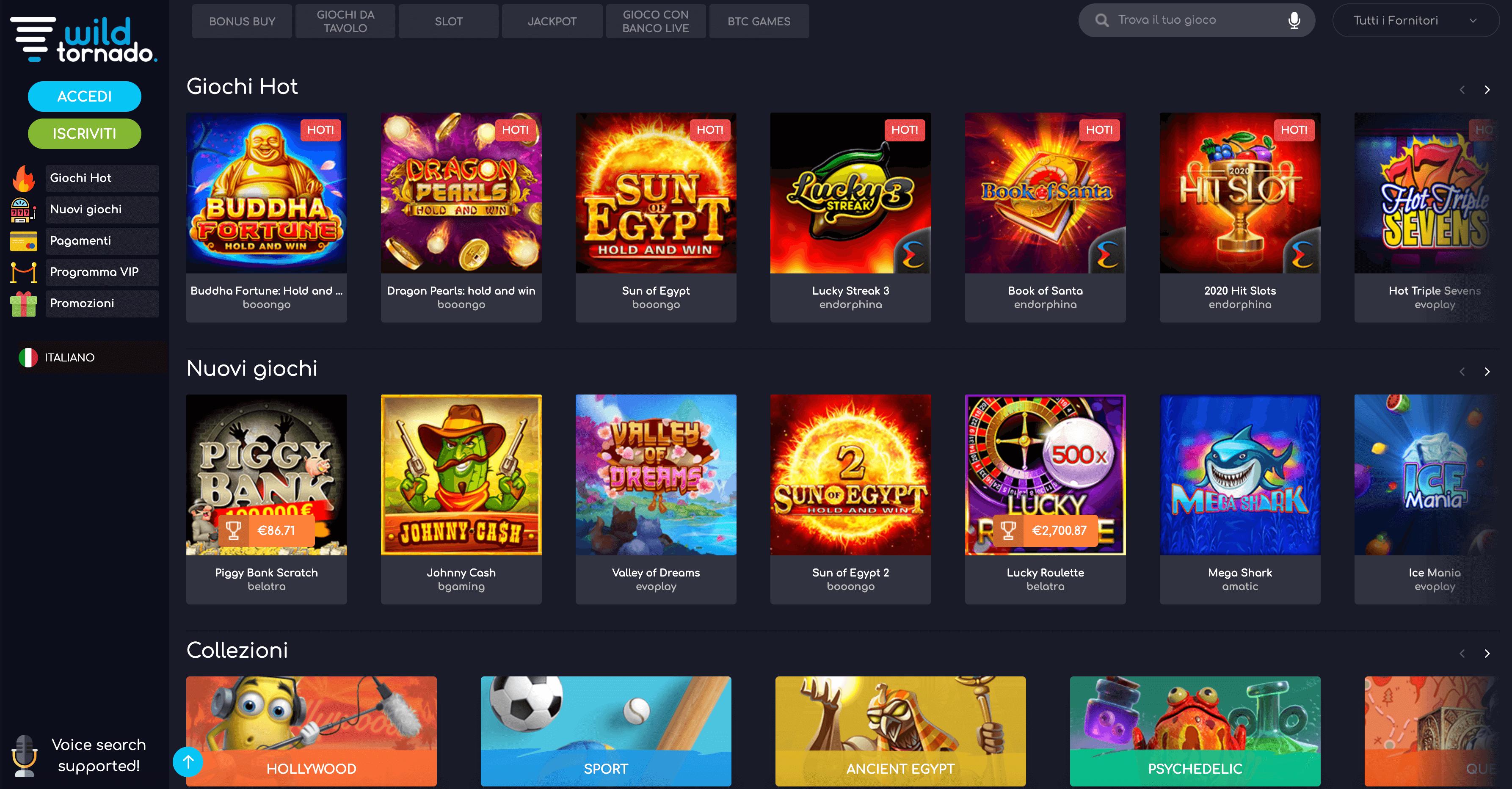 Wildtornado Casino, sviluppato da Soft2Bet. Recensione